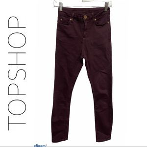 Topshop Moto Burgundy Ankle Skinny Jeans
